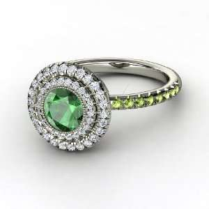 Natalie Ring, Round Emerald 14K White Gold Ring with Diamond & Green