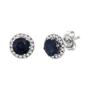 Gold Round Blue Sapphire and Diamond Halo Stud Earrings (1.33 cttw
