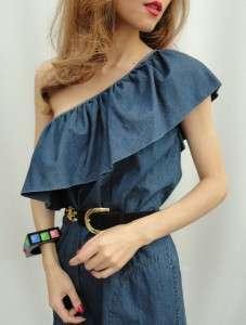BN Moschino Cheap & Chic Blue Denim One Shoulder Dress UK8 10, 40