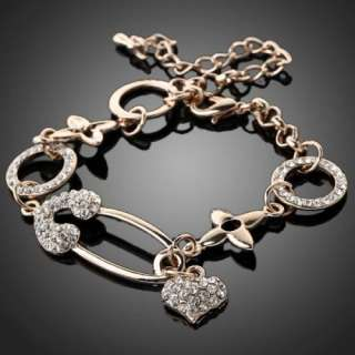Dangle Heart Circle Clear Rhinestone Bracelet Swarovski Crystal 18k
