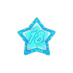 21 Happy 18th Birthday Blue Star   Mylar Balloon Foil