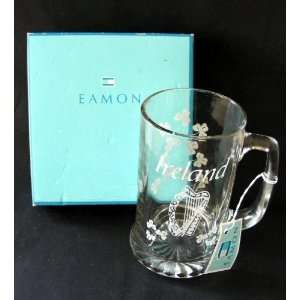 Eamon Irish Glass Beer Mug Tankard Ireland, Harp & Shamrocks
