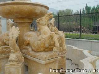 HAND CARVED SOLID MARBLE HENAN YELLOW HORSE FOUNTAIN