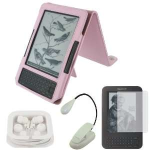 Convertible (Pink) Leather Case with 3 Way Adjustable Stand / LED Clip