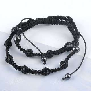 Ball Crystal Beads Mens Hip Hop Necklace Macrame 20 28L Gift