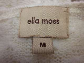 ELLA MOSS Cream Gold Crochet Long Sleeve Sweater Sz M