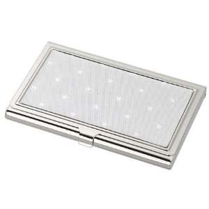 Silver Tone Business Card Holder with Star Patterned Decretive Top