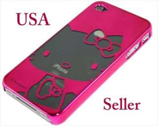 iPhone 4 4S 4G Hello Kitty Chrome Case +Mirror Screen Pink