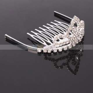 New Medium pointed Rhinestone crown Hair Clip Tiara