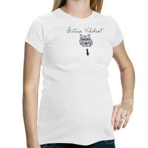 Ladies White Future Wildcat Maternity T shirt