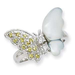 Sterling Silver CZ & Mother of Pearl Ring Size 7 Jewelry