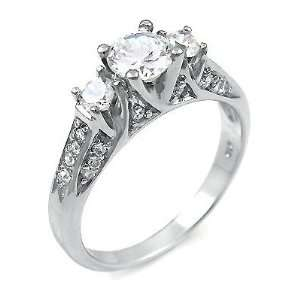 ) Gorgeous Sterling Silver Ring with High Quality Cubic Zirconia