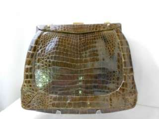 Vintage 1960s Crocodile Leather Purse Handbag Clutch Alligator Mad Men