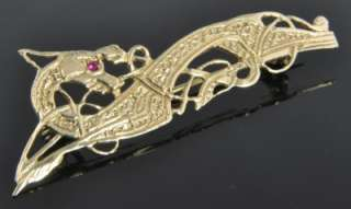 Irish Estate Vintage Yellow 9K Gold Celtic Dragon Ruby Pin Brooch ISJ