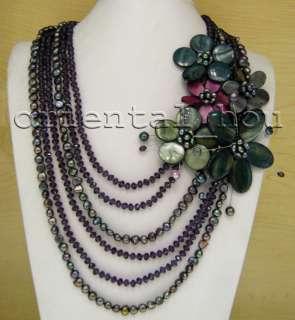 Beautiful Black FW Pearl&Purple Crystal&Shell Flower Jewelry Necklace