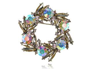 Cute Gold Tone Colorful Crystal Rhinestone Bird Nest Design Pin Brooch