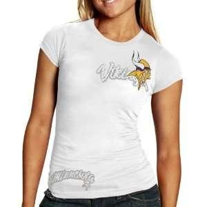 NFL Reebok Minnesota Vikings Ladies White Polka Dot Premium Washed T