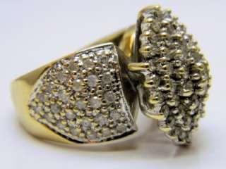 BIG HEAVY 1.5CTW DIAMOND COCKTAIL RING 10K Yellow Gold 9.28 grams