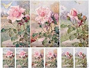 Shabby Cottage Chic Pink Roses Printed Collage Sheet