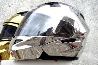 MASEI 815 FLIP UP DOT MOTORCYCLE HELMET CHROME SILVER