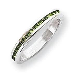 Sterling Silver 2.75mm Light Green Eternity Band Ring Size