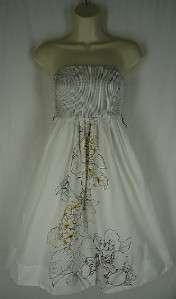 Size 4 Maeve Anthropologie White Dress Floral Strapless Cotton Aline S