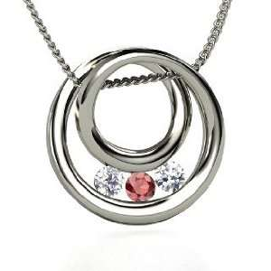Inner Circle Necklace, Round Red Garnet Sterling Silver Necklace with