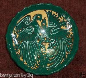 vtg JADE green CERAMIC bird POTTERY bowl PERU folk ART