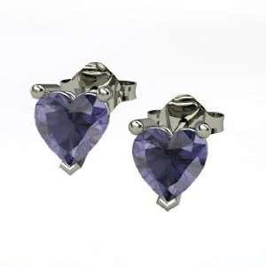 Stud Earrings, Round Iolite 14K White Gold Stud Earrings Jewelry