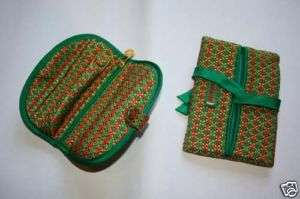 Jim Thompson silk jewelry roll/case + Tissue purse