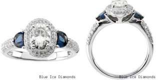 Moissanite Engagement Ring With Diamonds And Sapphire Oval Cut 2.20 Ct