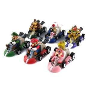 Super Mario Action Figures Pull Back Kart Racers (6 Piece