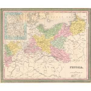 Mitchell 1850 Antique Map of Prussia