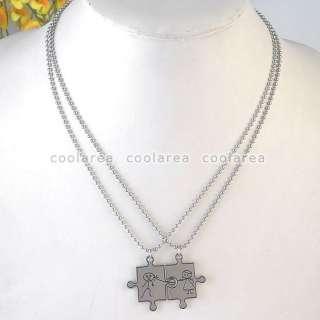 Couple Lover 19 Stainless Steel Jigsaw Girl Boy Pendant Ball Chain