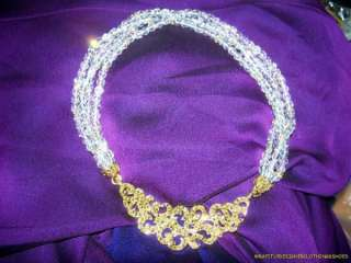 Authentic Rare St. John Choker Necklace Crystal Rhinestones Gold