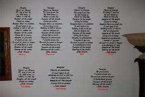 JOHN LENNON IMAGINE BEATLES VINYL GRAPHICS WALL ART