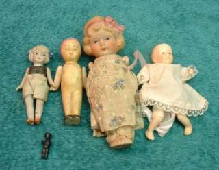Old Japan Porcelain Wire Jointed Dolls Boy / Girl / Infant LOOK
