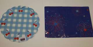 4th of July Patriotic Vinyl Placemats 2 Styles UPic NWT