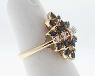 Estate Blue Sapphire Diamond Solid 14k Yellow Gold Ring