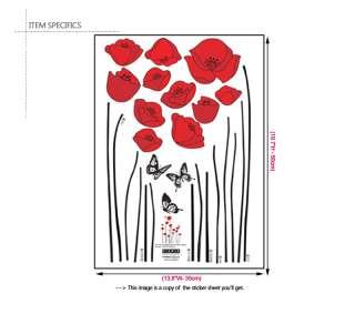 RED POPPY ★ HOME DECOR MURAL ART WALL DECAL STICKER