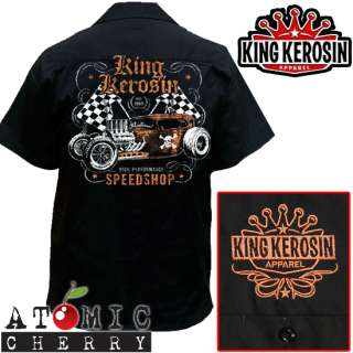 King Kerosin Speed Shop Work Shirt Rockabilly Punk New Hot Rod