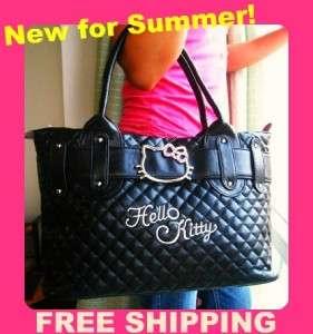NEW HELLO KITTY by Sanrio Black Leather Handbag Purse Tote Bag FREE