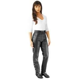 River Road Womens 5 Pocket Leather Pants   12/Black Automotive