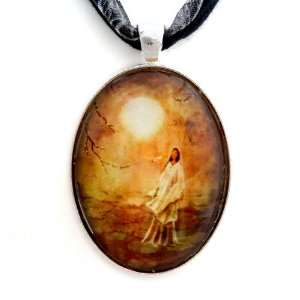 Quan Yin in a Lotus Pond Handmade Fine Art Pendant: Jewelry