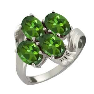 3.40 Ct Oval Green Tourmaline 18k White Gold Ring Jewelry