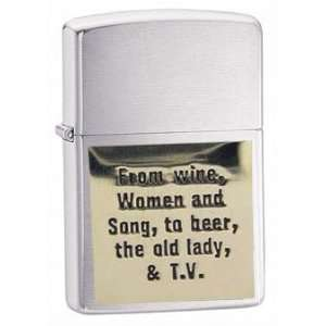 Zippo Custom Lighter   Novelty Funny Humor Saying Wine Women and Song
