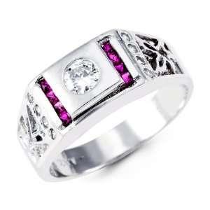 Mens Solid 14k White Gold Purple Princess Round CZ Ring Jewelry