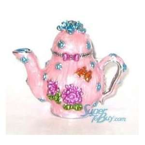 Flower Teapot  Crystal Diamond Jewelry Trinket Box