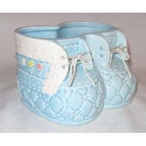 Blue Boy Baby Booties Planter Perfect for Craft Project 3.5 in Tall X