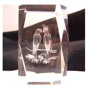 Laser Art Crystal with Love Birds